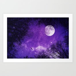 Nightsky with Full Moon in Ultra Violet Art Print