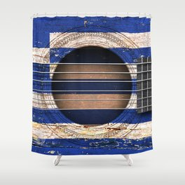 Old Vintage Acoustic Guitar with Greek Flag Shower Curtain