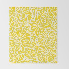 Gen Z Yellow Marigold Lino Cut Throw Blanket