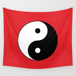 Yin and yang Symbol on red Wall Tapestry