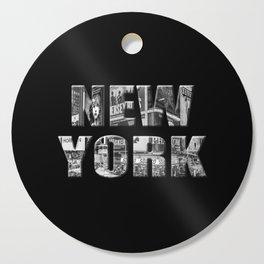 New York (black & white photo type on black) Cutting Board