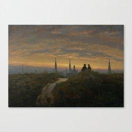 Carl Gustav Carus - Look at Dresden at Sonnenuntergang Canvas Print