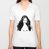 vampire diaries V-neck T-shirts featuring Vampire Diaries by Tamsin Lucie