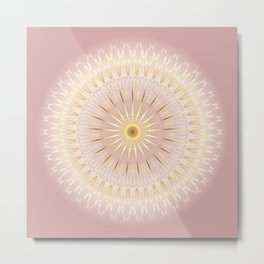 Gold Rose Mandala Metal Print