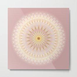 Gold Rose Mandala Metal Print