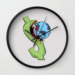 Greedy Dollar Carlos Latuff Anti Capitalism Artwork Wall Clock