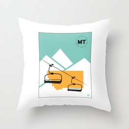 Skiing in Montana Throw Pillow