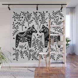 Swedish Dala Horses – Black Palette Wall Mural