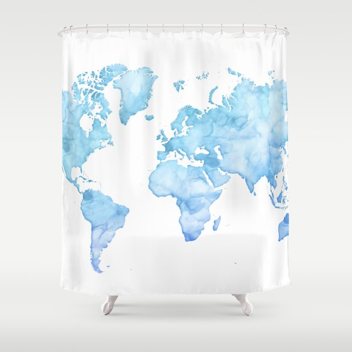 Light Blue Watercolor World Map Shower Curtain