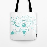 surrealism Tote Bags featuring Surrealism by Karen Trujillo