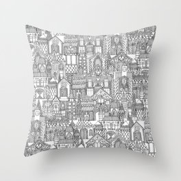 gingerbread town black white Throw Pillow