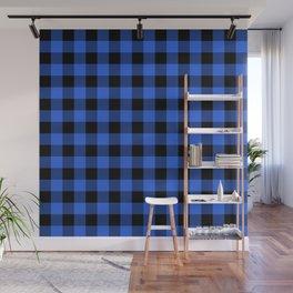 Royal Blue and Black Lumberjack Buffalo Plaid Fabric Wall Mural