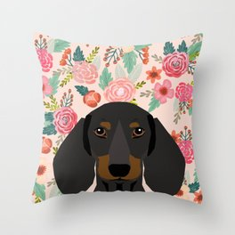 Dachshund florals cute pet gifts black and tan dachshund gifts for dog lover with weener dog Throw Pillow