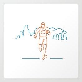 Marathon Runner Running Neon Sign Art Print