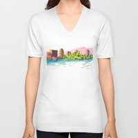 oakland V-neck T-shirts featuring Oakland by Erik Walker