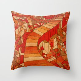 Path in brown and orange 3d landscape Throw Pillow