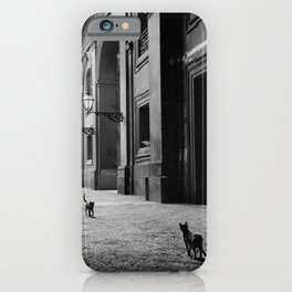 Two French Cats, Paris Left Bank black and white cityscape photograph / photography iPhone Case