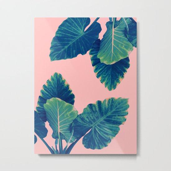 Greenery on Blush Metal Print