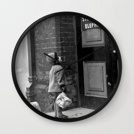 'Strictly No Elephants' vintage humorous child verses the world black and white photograph / black and white photography Wall Clock