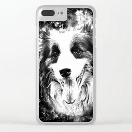 border collie shepherd dog splatter watercolor white Clear iPhone Case