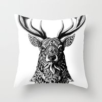 ornate Throw Pillows featuring Ornate Buck by BIOWORKZ