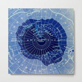 South Pole Neon Map Metal Print