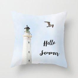 Lighthouse hello summer blue sky sea eagle  Throw Pillow