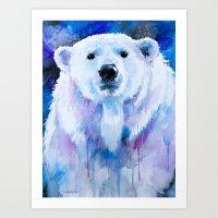 polar bear Art Prints featuring Polar bear  by Slaveika Aladjova