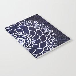 Mandala Curly Blue Spiritual Zen Bohemian Hippie Yoga Mantra Meditation Notebook