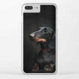 Black Dachshund Clear iPhone Case