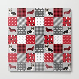 Tricolored Corgi Patchwork - classic buffalo plaid, plaid, dog dad, dog lover, dog design, cute dogs Metal Print