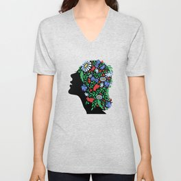 Female head with abstract flowers Unisex V-Neck