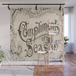 Season's Greetings Shabby Chic French Country Modern Vintage Christmas Typography Wall Mural
