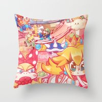 mario kart Throw Pillows featuring Mario kart - Sweet Sweet canyon by SweetOwls