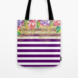 Bold Purple Stripes Gold Dust Floral Tote Bag