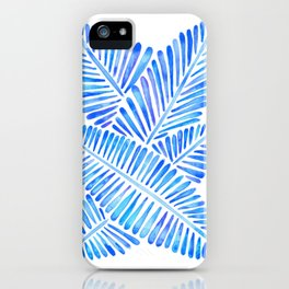 Tropical Banana Leaves – Blue Palette iPhone Case