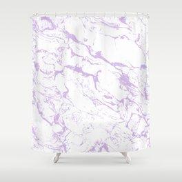 Modern trendy white pastel purple lavender marble pattern Shower Curtain