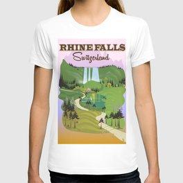 Rhine Falls Switzerland vintage style travel poster. T-shirt