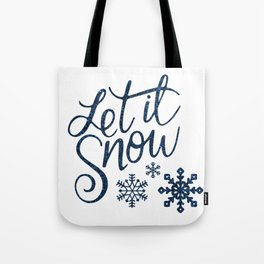 Let It Snow Blue Glitter Typography Winter Tote Bag