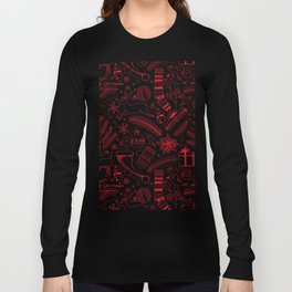 Doodle Christmas pattern red Long Sleeve T-shirt