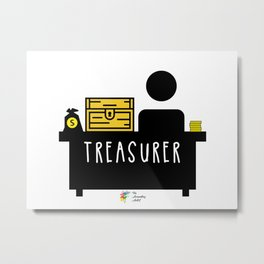 Treasurer at Desk with Treasure Metal Print