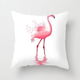 Flamingo Pink Ribbon Throw Pillow