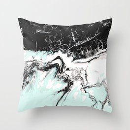mint black and white marble Throw Pillow