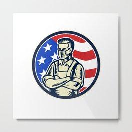 Food Worker Wearing Mask USA Flag Retro Metal Print