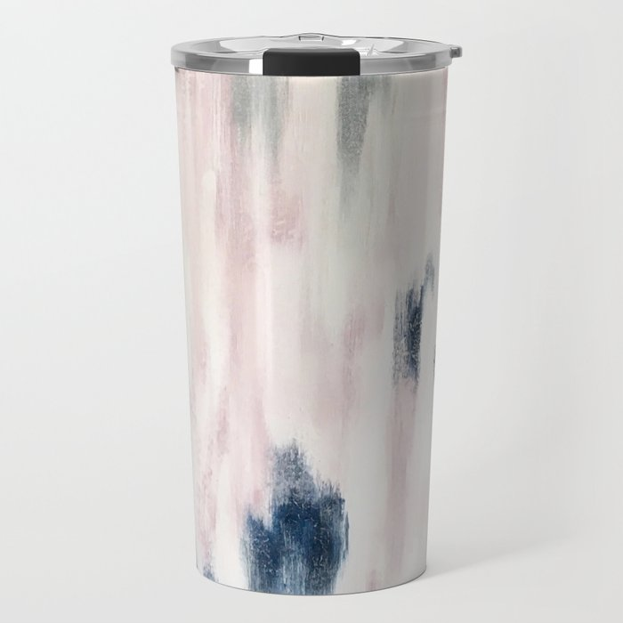 Blush Pink and Blue Pretty Abstract Travel Mug