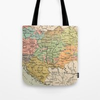 vintage map Tote Bags featuring Vintage Map by littlehomesteadco