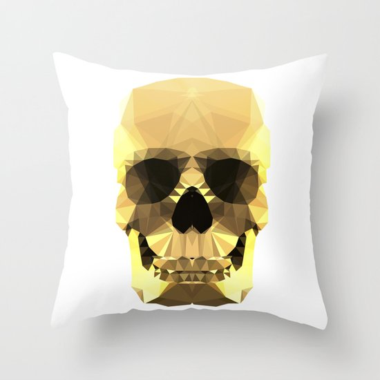 Polygon Heroes - Gold Skull Throw Pillow