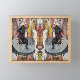 Fire Baby Dragon, Hatching Egg, Original painting by Luna Smith, LuArt Gallery Framed Mini Art Print