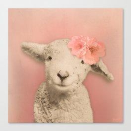 Flower Sheep Girl Portrait, Dusty Flamingo Pink Background Canvas Print