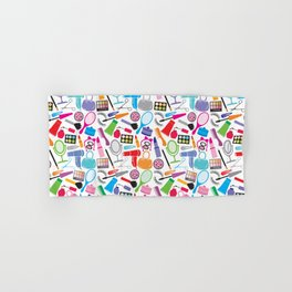 make up collection background (seamless pattern, beauty and makeup design) Hand & Bath Towel